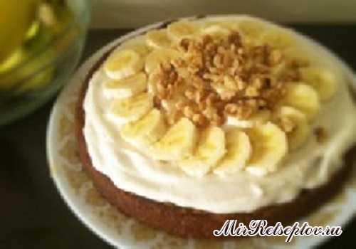 Торт с бананом и грецким орехом