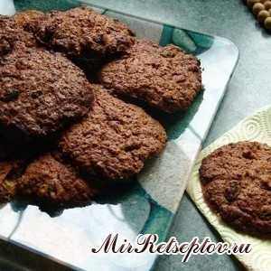 Шоколадное овсяное печенье без сахара с бананом