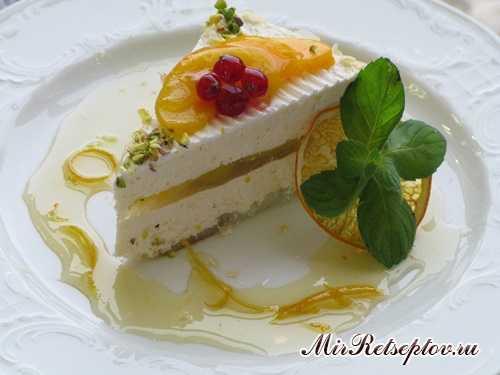 """Торт """"Творожно-персиковый со вкусом маракуйи"""""""