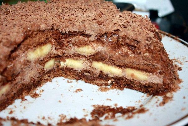 Торт из пряников с бананами и сметаной и зефиром и рецепт