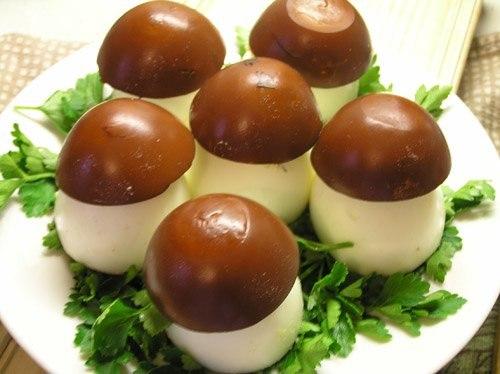 Грибы из яиц пошаговый рецепт с