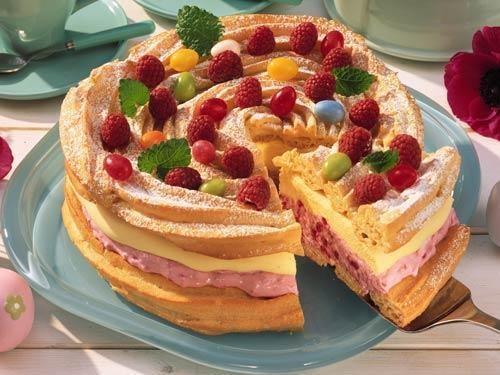Заварной торт с малиной