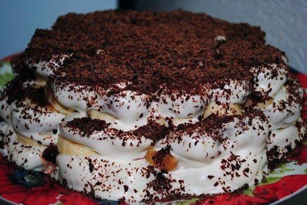 Банановый торт из пряников с грецким орехом