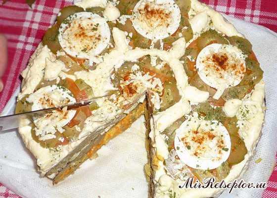 Торт из печени с двумя разными начинками