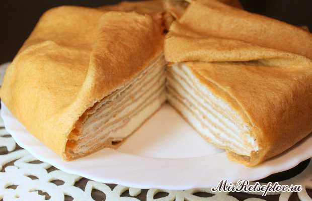 Блинный торт с сырным кремом