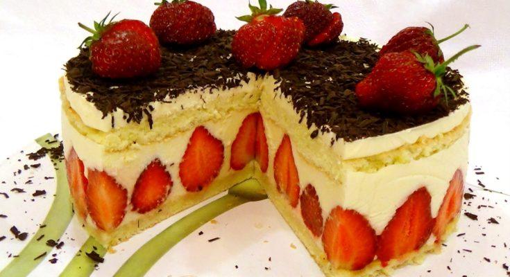 """Торт """"Фрезье""""(Fraisier). Клубничный торт"""