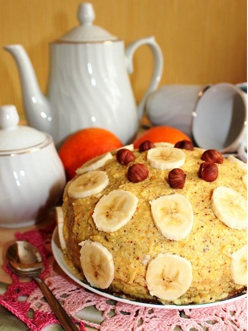 Апельсиновый торт с орехами и бананом постный