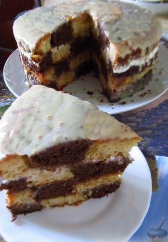 """Бисквитный торт """"Шахматный"""", с ароматом кофе"""