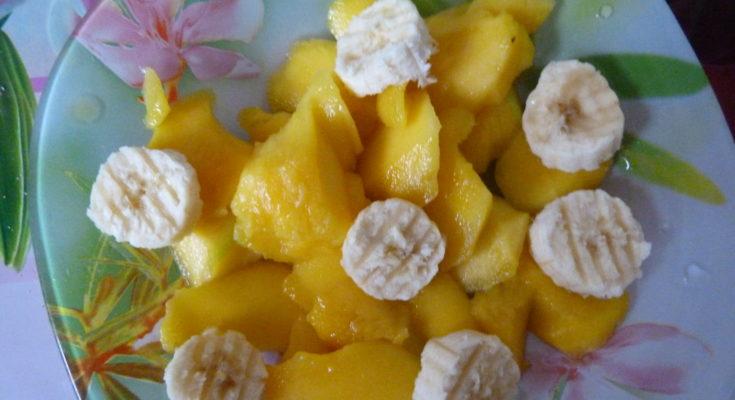 "Салат-десерт ""Манго с бананом"" ""Mango with banana"" salad dessert"