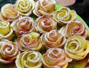 Слоеная выпечка. Розы из яблок.