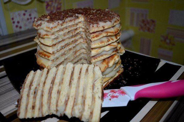 Торт на сковородке с заварным кремом