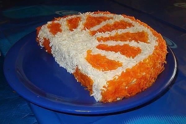 Слоеный салат «Долька апельсина» к празднику