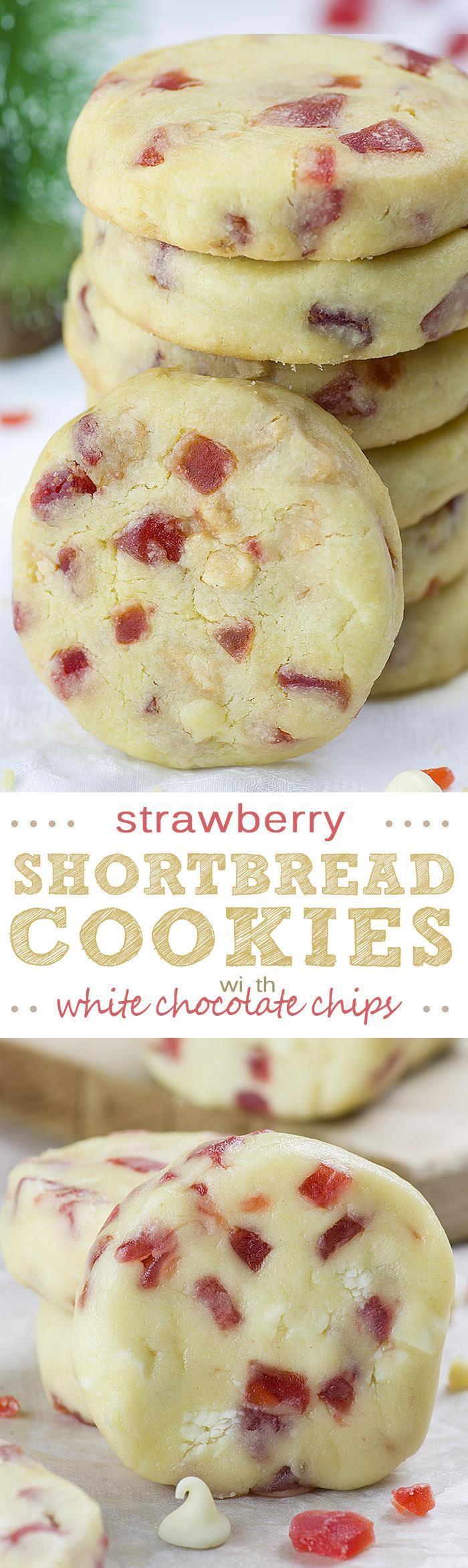Песочное печенье с клубникой и белым шоколадом
