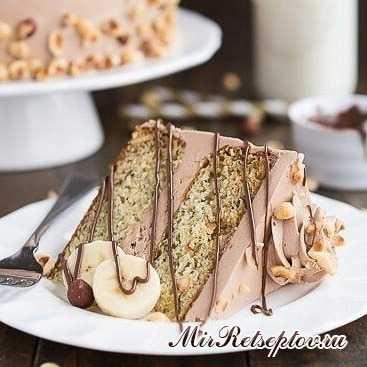 Нежный бананово-ореховый торт